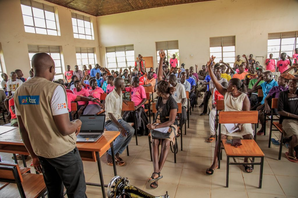 Participants at an Up Accelerate information session in Adjumani district.