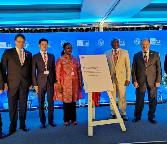 In Pictorial (L-R): Xue Man, Vice President of Huawei Global Public Affairs, Andre Borges, Secretary of MCTIC, Brazil, Zhou Mingcheng, Vice President of Huawei Global Government Affairs Dept., Hon. Ursula Owusu-Ekuful, Minister for Communications, Ghana, Dr. Siyanbonga Cwele, Minister of Telecommunications and Postal Services, Dr. Abdulaziz Al-Ruwais, Governor of CITC, Saudi Arabia, Zhou Jianjun, Vice President of Huawei Carrier Business Group.