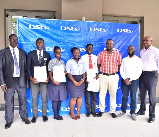 DStv Eutelsat Star awards 2018 national winners pose with the 2018 Judging panel at the MultiChoice Head Offices in Uganda on Friday 23, November 2018.
