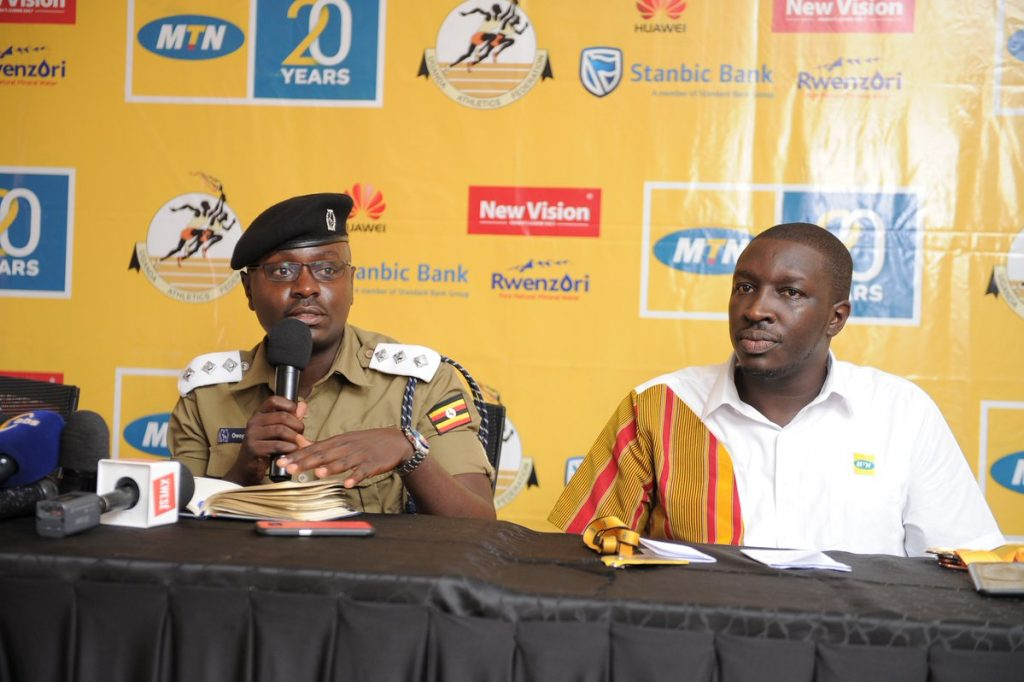 Luke Owoyesigire; Kampala Metropolitan Police Spokesman, speaks to media during the unveiling of elite runners for the 2018 MTN Kampala Marathon on Friday 23rd, November 2018 at the MTN Uganda offices in Nyonyi Gardens.
