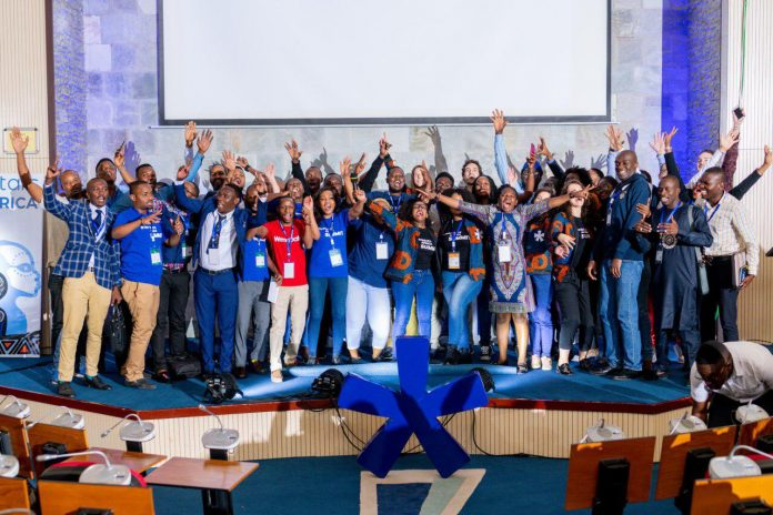 17 regional winners of Seedstars World Africa tour pose for a group photos at the Seedstars Africa Summit 2018 conference in Dar es Salaam, Tanzania on Thursday 13th, December 2018.