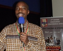 PC Tech's Albert Mucunguzi speaking at the Ghana Graduates Conference in Accra in September.