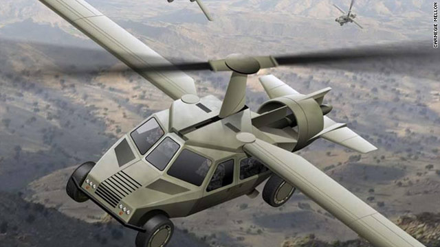 A concept rendering of the Transformer, a roadworthy vehicle that would carry four soldiers and take off like a helicopter.