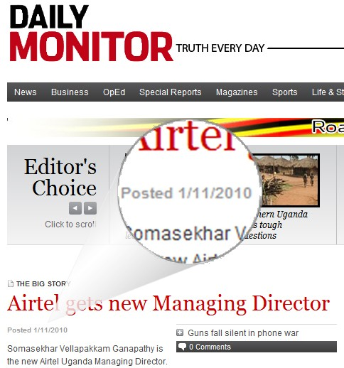 Daily Monitor's website on December 1, 2010