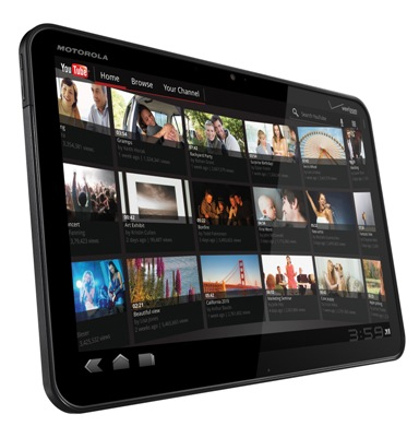 Motorola Zoom's You Tube App Screen