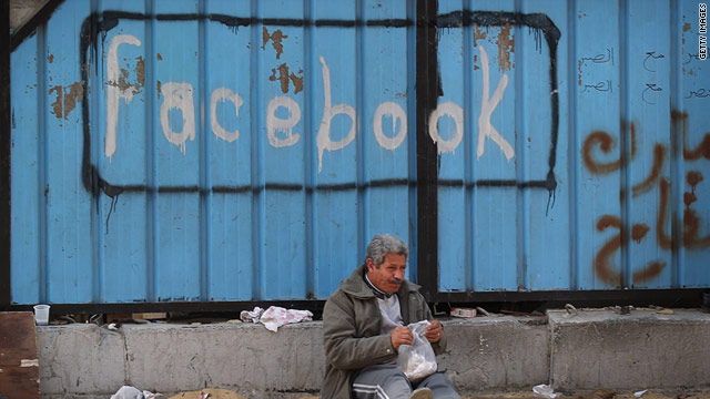 A fence is spray painted with the word Facebook in Tahrir Square during protests which saw the ouster of President Mubarak.