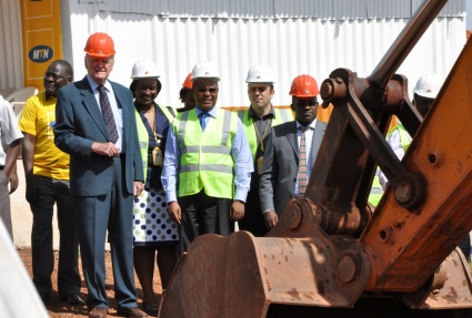 Roko Chairman Rainer Kohler - Left, Suit - with MTN CEO Themba M. Khumalo at the ground-breaking ceremony