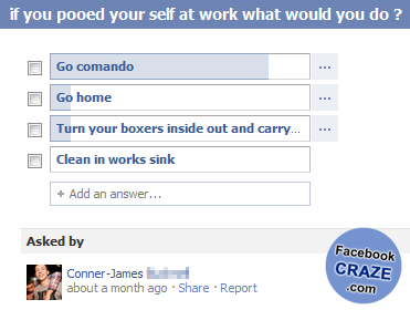 Facebook Funny Questions Poll With Answers Votes