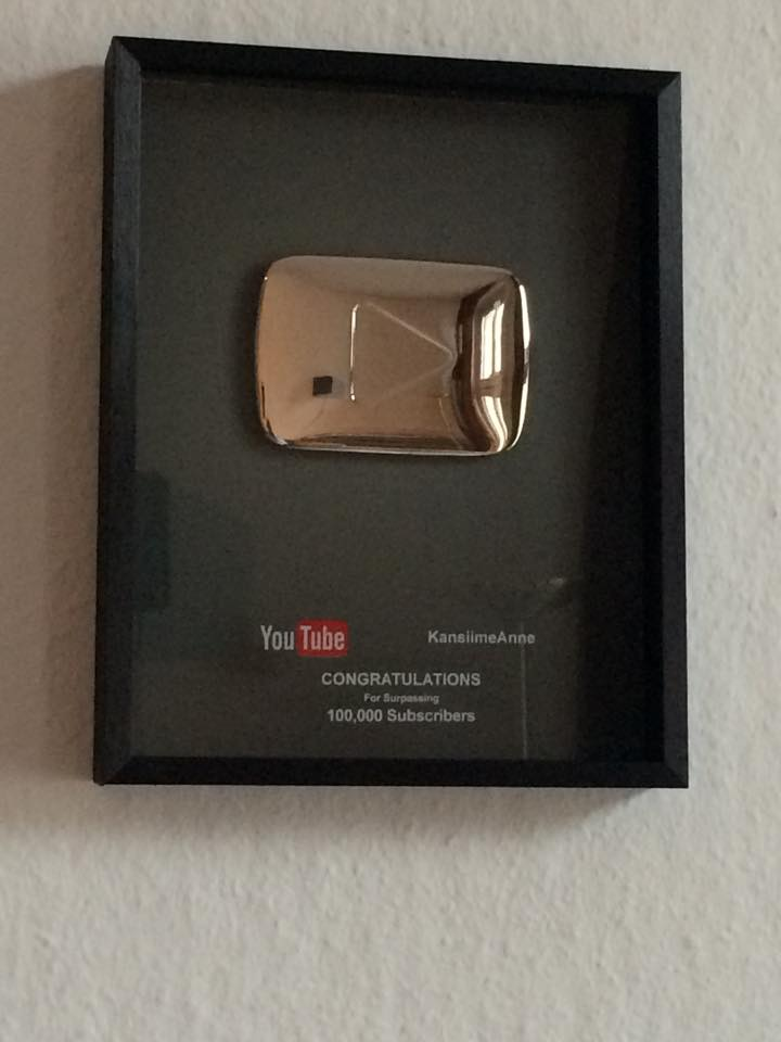 The silver button awarded to Anne Kansiime by YouTube