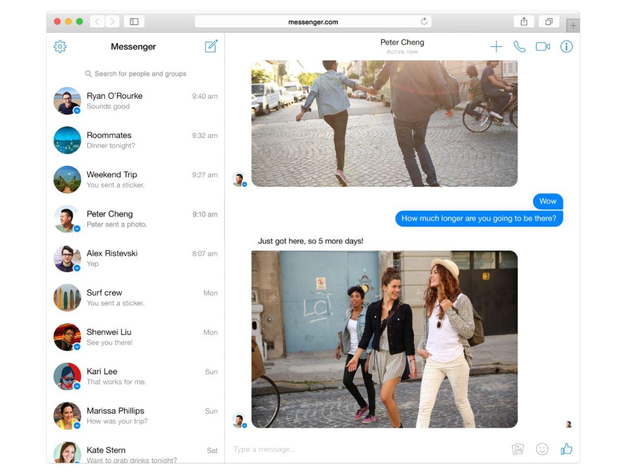 Messenger for web screenshot. Credit: Facebook