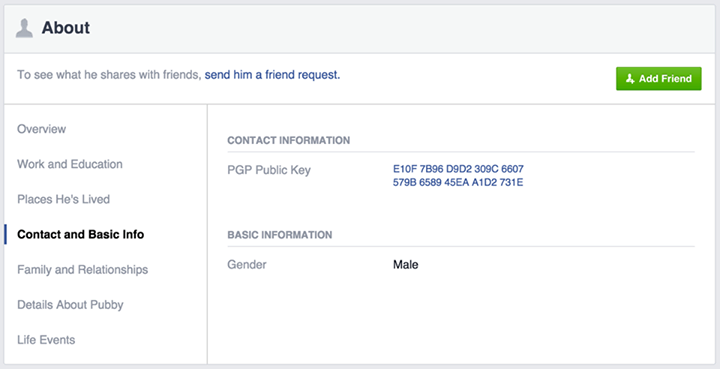 Photo of You can now put a PGP key on your Facebook profile and uses it to encrypt notifications