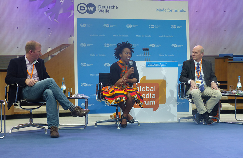 Facebook's Ebele (Center) responds to questions from delegates