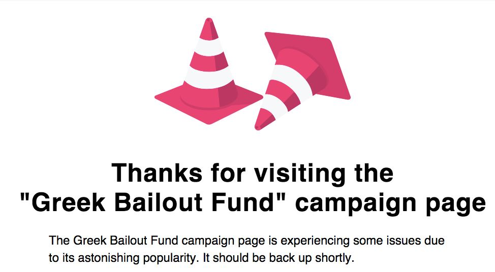 Photo of Campaign to Crowdfund Greece's Bailout Crashes Indiegogo