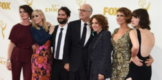 """(L-R) Gaby Hoffmann, Judith Light, Jay Duplass, Jeffrey Tambor, Jill Soloway, Amy Landecker, and Alison Sudol of the Amazon show """"Transparent"""" attend the 67th Emmy Awards. Photo credit: AFP Mark Ralston"""