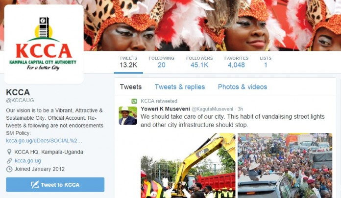 The KCCA Twitter account is one of the accounts that have the