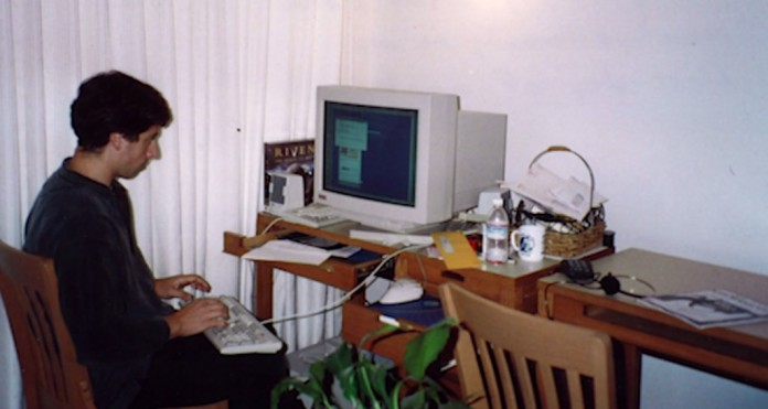 Inside Google's first office, also known as Larry and Sergey's Stanford dorm rooms. They had to find alternative arrangements when the Stanford IT department complained they were sucking up all the bandwidth.