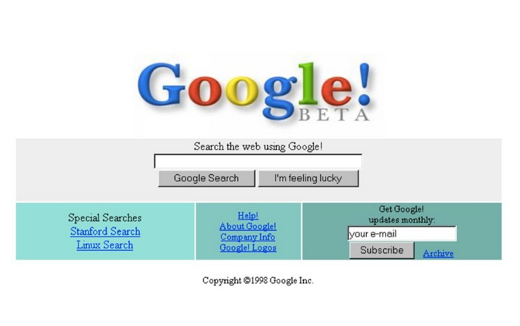 Google's first homepage (It worked better than it looked.