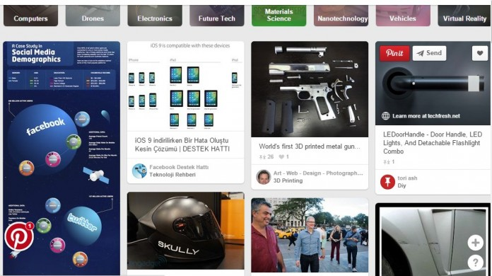 Pins in one of the categories on Pinterest