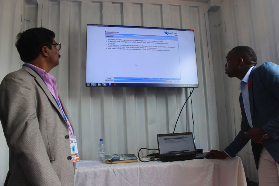 Samsung executive demonstrating how the software is used to conduct assessment after a class