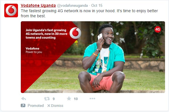 Vodafone Uganda is one of the Ugandan companies that have recently started running Twitter Ads