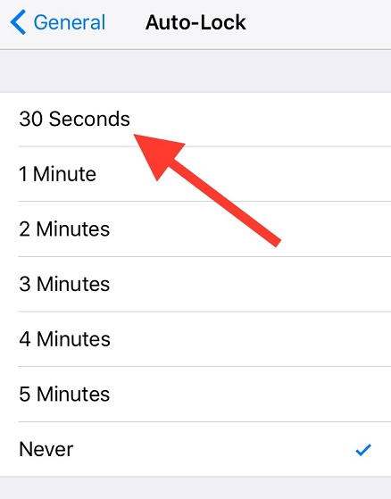 30 second auto lock in iOS 9. Image Credit: IDownloadBlog