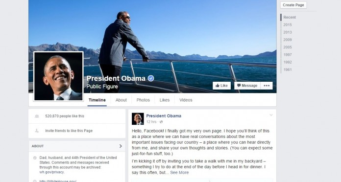 President Barack Obama used his new facebook page to send a message on climate change.