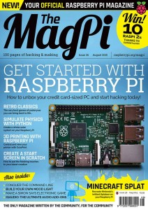 "The Raspberry Pi Zero showing on the ""The Magpi Magazine"". Image Credit: Recantha"