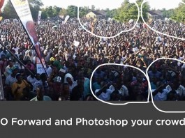 "Social media is awash with ""Photoshopped"" photos of crowds, but with a keen eye you can be able to identify the fakes, like this one."