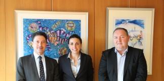 The partners: From left to right: Michel AZIBERT - Eutelsat, Nathalie MARTIN - Wikimedia Foundation, Philippe TINTIGNAC - Afrique Telecom.