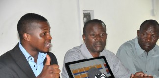 Charles at a press conference launching BrainShare in Tanzania.