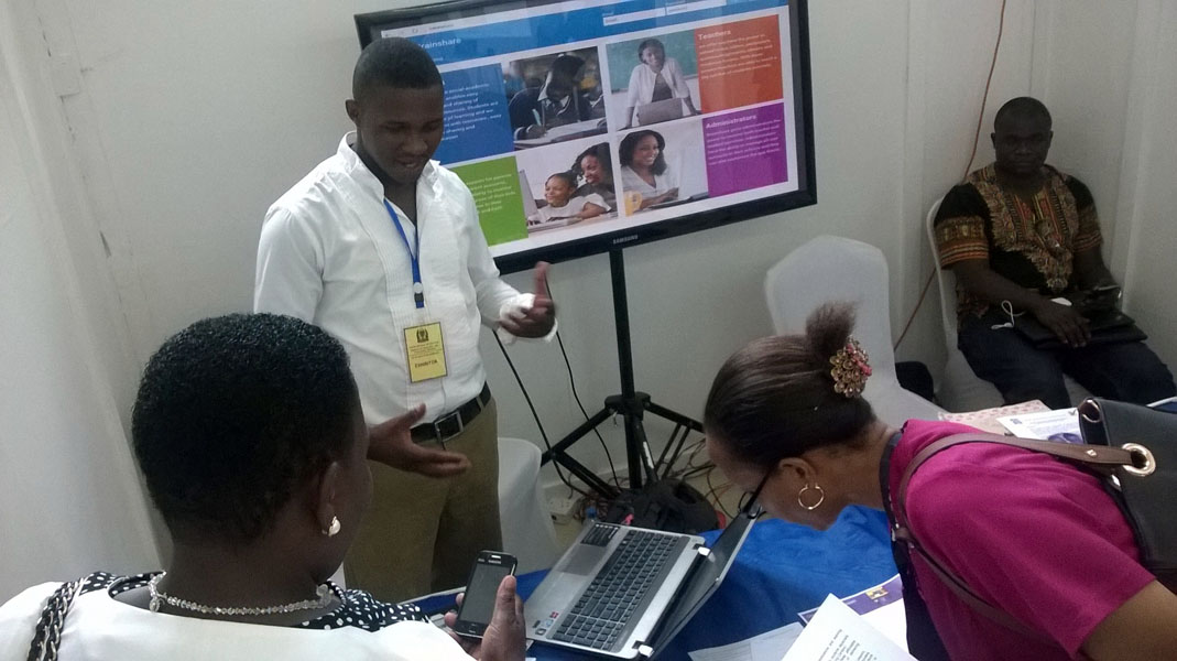 Charles at the ICT in Education Exhibition organized by the Ministry of Education and Vocational Training, Tanzania.