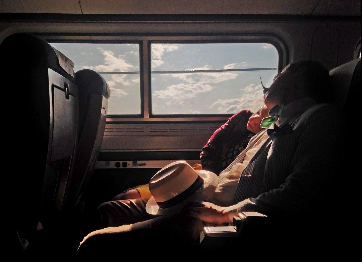 New York City on a train