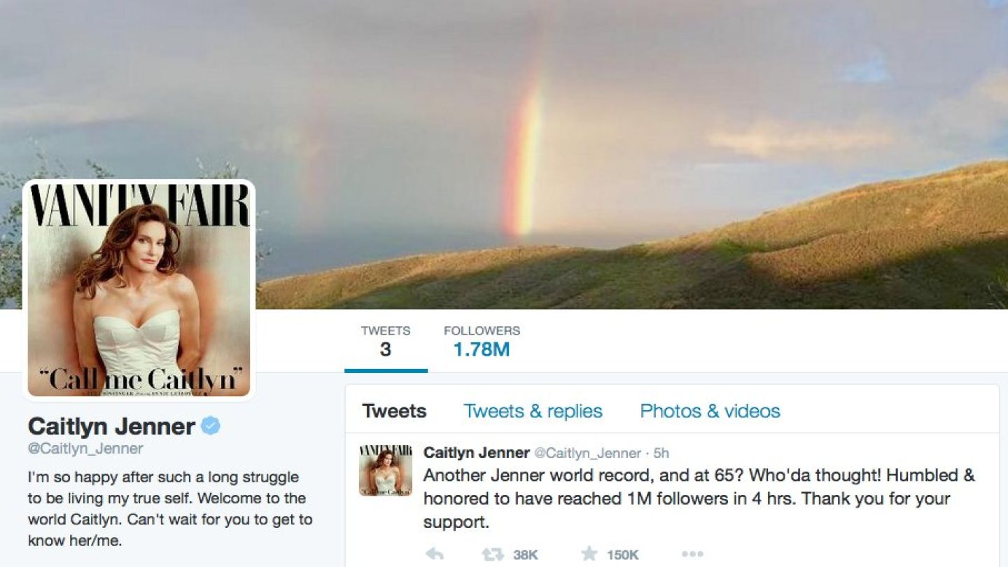 @Caitlyn_Jenner just set a new record for fastest time to reach 1 million followers in 4hours and 3mintues. Image Credit: MTVNImages