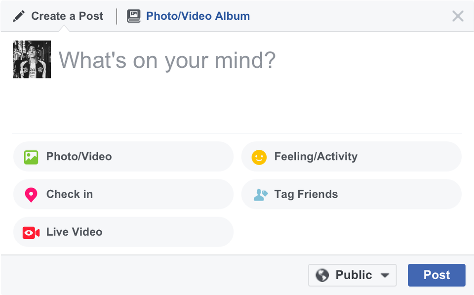 The Live Video option is available alongside Check in, Activities, and others on the top of the NewsFeed/ Timeline. Image Credit: Facebook Newsroom