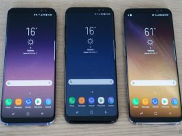 The Samsung Galaxy S8 and S8+ during their launch event last year, as the Galaxy S9 is set to launch this year. (Photo Credit: Android Authority)