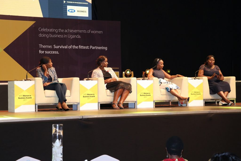 In Pictorial (Left to Right): Mrs. Juliet Kakaayi Nsubuga; Senior Manager, Consumer Sales & Planning at MTN Uganda, Ms. Caroline Mboijana; Managing Director of The Leadership Team (TLT) Uganda, Mrs. Elizabeth Ntege, Co-Founder and director of NFT Consult Group of Companies, and Dr. Barbara Ofwono Buyondo, a senior educationist and proprietor of Victorious Education Services, on a panel disussion during the 5th annual MTN Women in Business Award ceremonial at Kampala Serena Hotel on Friday, 17th March, 2017.