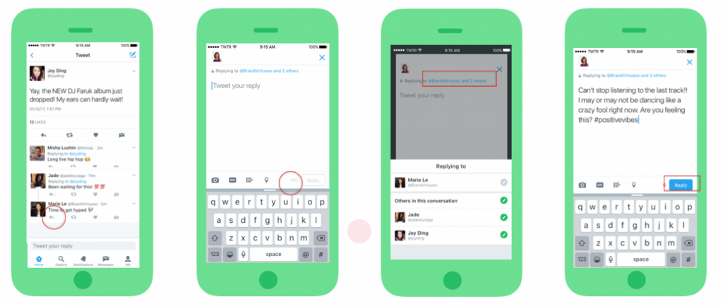 With all 140 characters for your replies, you have more room to participate in group conversations. Image Credit: Twitter