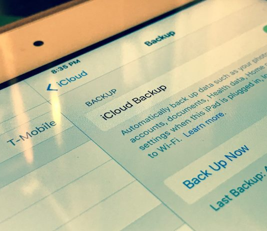 A user showing off an iCloud Backup on an iPhone. Image Credit: Payette Forward