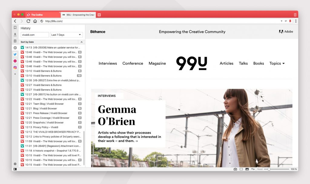 The new History Feature for the Vivaldi Browser will reveal a list of previously visited URLs alongside open websites allowing users to quickly search through their history without leaving the current page. Photo credit: Vivaldi