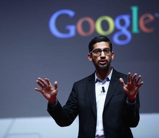 Sundar Pichai, senior vice president of Android, Chrome and Apps at Google Inc., speaks during a keynote session at the Mobile World Congress in Barcelona, Spain, on Monday, March 2, 2015. The event, which generates several hundred million euros in revenue for the city of Barcelona each year, also means the world for a week turns its attention back to Europe for the latest in technology, despite a lagging ecosystem. Photographer: Simon Dawson/Bloomberg via Getty Images