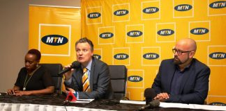 MTN Uganda announces new data rates effective today. Pictured at the media press briefing at the MTN offices in Kamapala, Wim Vanhelleputte; MTN Uganda CEO (c), Olivier Prentout; MTN Uganda CMO (r).