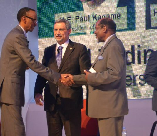 H.E the President of Rwanda; Paul Kagame (L) shakes hand with Pedro Pires; ex-President of Cabo Verde during the first annual Africa Innovation Summit in Cabo Verde. (Photo Credit: AIS Facebook Page)