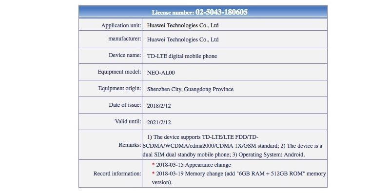 Huawei NEO-AL00 (Stat got from Tenaa).