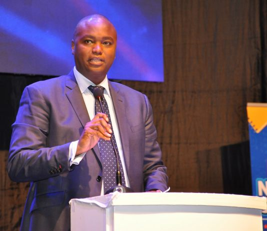 Patrick Mweheire; CEO at Stanbic Bank Uganda speaking at the launch of the 2018 National school championship at the Kampala Serena Hotel on Monday 19th, March 2018.