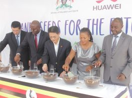 From Left to Right, Huawei MD Mr. Liujiawei, Assistant Commissioner Information Managment Mr. Patrick Muinda, Deputy Chief of Missions Chinese Embassy Chu Maoming, Head of Innovations, Makerere University.
