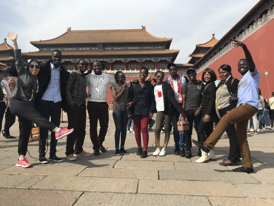 The 10 finalists for the 2018 Huawei's seeds for future programs pose for a group photo infront of the Forbidden City, also known as the Palace Museum, in Beijing which is also the biggest preserved palace in the world.