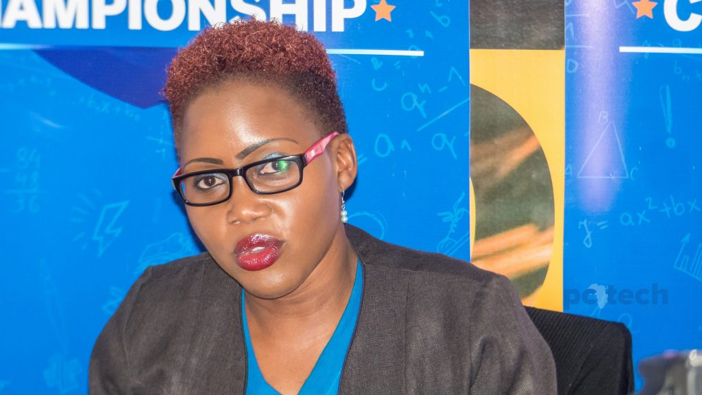 Barbara Kasekende; Stanbic Bank CSI Manager briefs the press at the Stanbic Business incubation center on Friday 20th, April 2018.