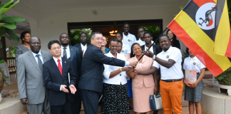 H.E Janet Museveni flags off finalists for the 2018 Huawei Seeds for the Future program to China. Finalists set to leave on 6th April, 2018.