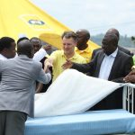 MTN Uganda Foundation hands over 40 hospital equipments' to the revonvation of the Kabarole Hospital on Friday 20th, April 2018. MTN Uganda's CEO Wim Vanhelleputte pictured in a yellow t-shirt shaking hands with some of the stakeholders.