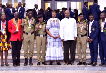 President Yoweri Museveni and First Lady Janet Museveni, who is also the minister of Education and Sports, with Uganda's representatives to the Commonwealth games after a luncheon at State House Entebbe on April 22, 2018. (Photo Credit: PPU)